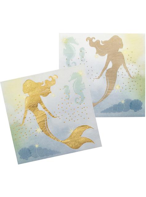 12 Serviettes en papier sirènes (33x33 cm) - Mermaid Collection