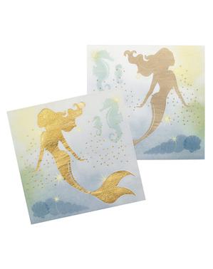 12 салфетки с лама(33x33 cm)– Mermaid Collection