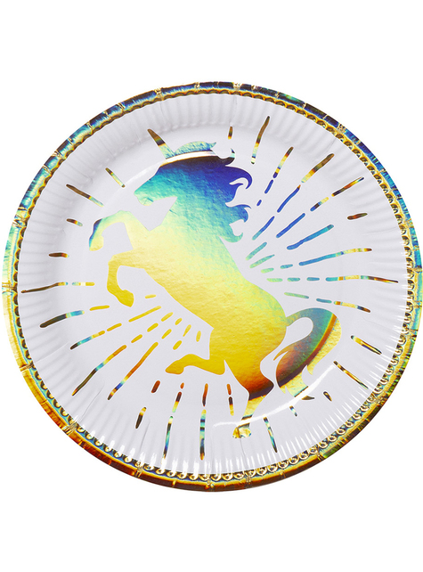 6 platos de unicornios dorados (23 cm) - Magic Unicorn