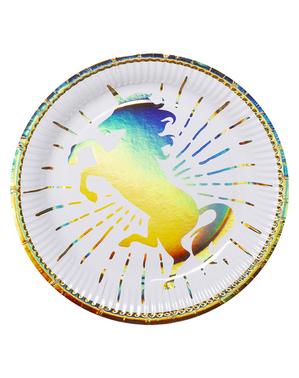 6 tallrikar med enhörningar guldfärgade (23 cm) - Magic Unicorn