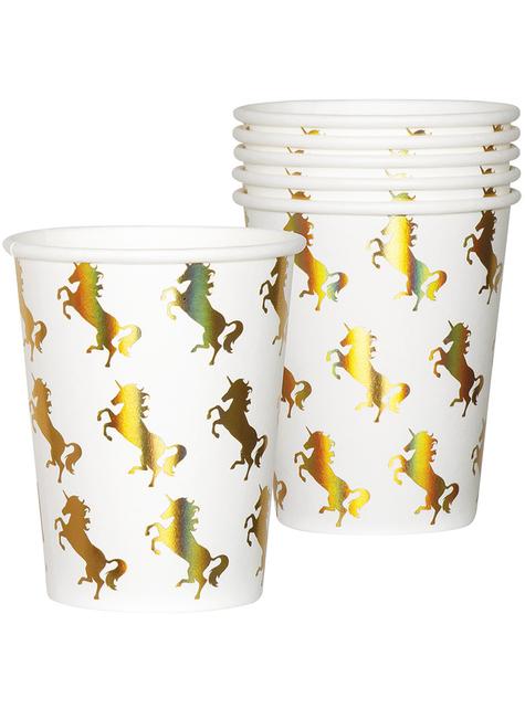 6 vasos de unicornios dorados - Magic Unicorn