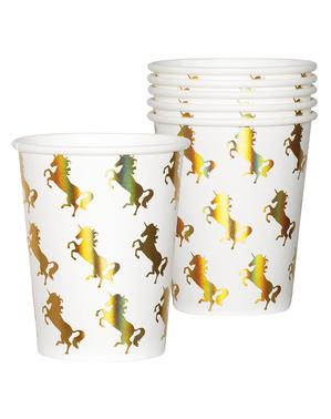 6 glass med gylden enhjørninger - Magic Enhjørning