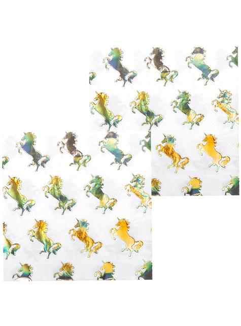 12 Serviettes en papier licornes dorées (33x33 cm) - Magic Unicorn