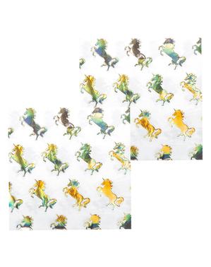 12 golden unicorn napkins (33x33 cm) - Magic Unicorn