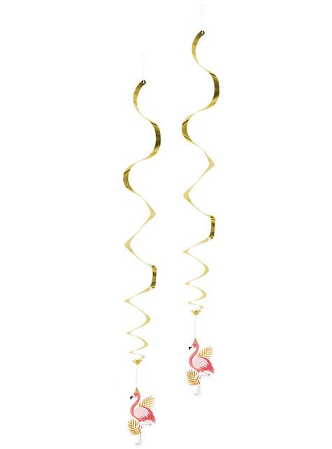 Decoración colgante de flamencos rosa y dorados - Flamingo Party