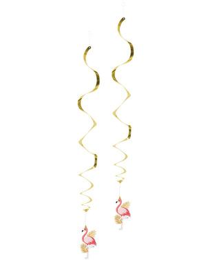 Roikkuvat flamingokoristeet pinkkinä ja kultaisena - Flamingo Party