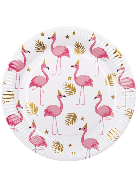 6 flamingo borden (23 cm) - Flamingo Party