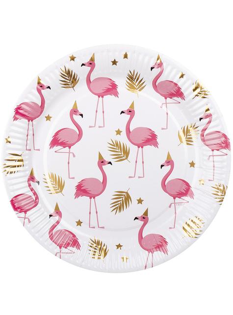 6 piatti con fenicotteri (23 cm) - Flamingo Party