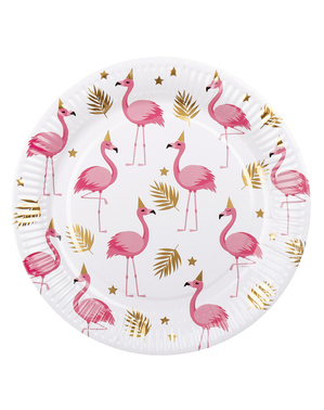 6 flamingo borden (23 cm) - Flamingo Party