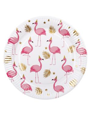 6 talířů s plameňáky (23 cm) - Flamingo Party