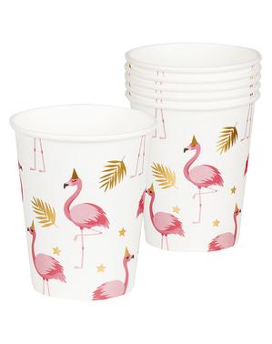6 glass med flamingoer - Flamingo Fest