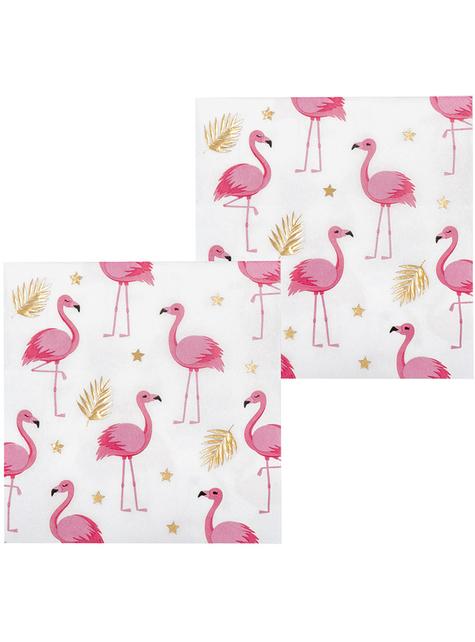 12 Serviettes en papier flamants roses (33x33 cm) - Flamingo Party