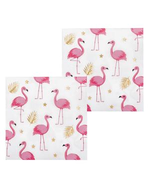 12 flamingo servietter (33x33 cm) - Flamingo Fest