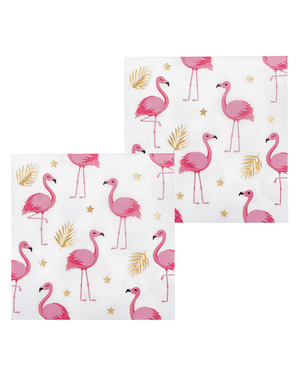 12 tovaglioli con fenicotteri (33x33 cm) - Flamingo Party