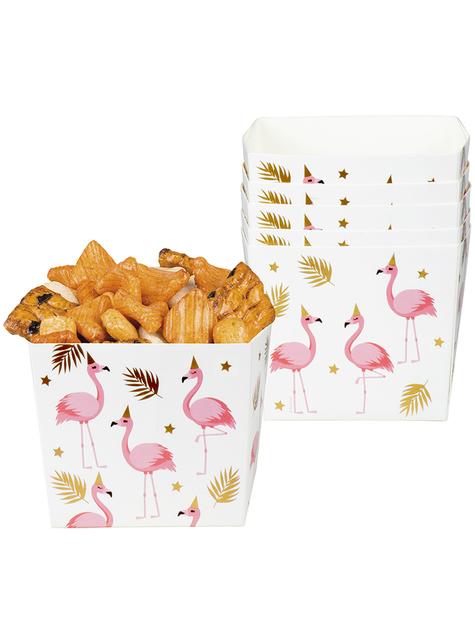 6 cajitas de flamencos para aperitivos - Flamingo Party