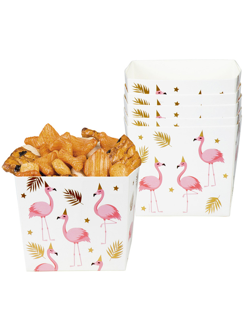 6 contenitori con fenicotteri per aperitivo - Flamingo Party