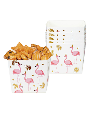 6 bokser med flamingoer for snacks - Flamingo Fest