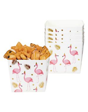 6 caixinhas de flamingos para aperitivos - Flamingo Party