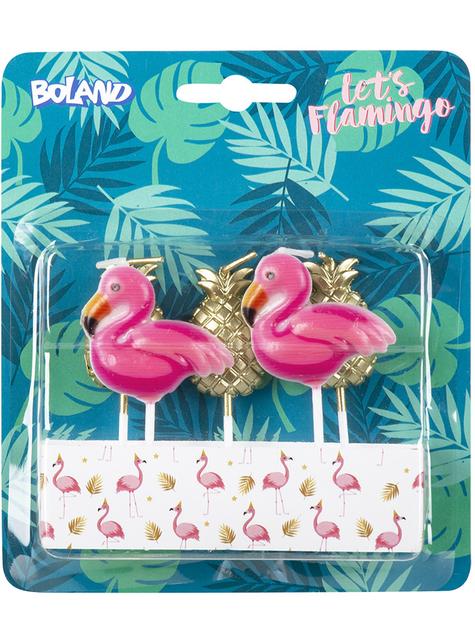5 velas con forma de flamenco y piña - Flamingo Party