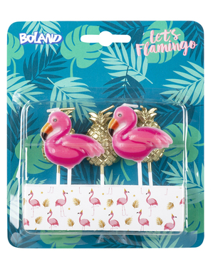 5 velas con forma de flamenco y piña - Flamingo Party