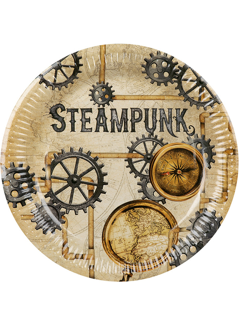 6 Steampunk Pappteller braun (23 cm) - Steampunk Collection