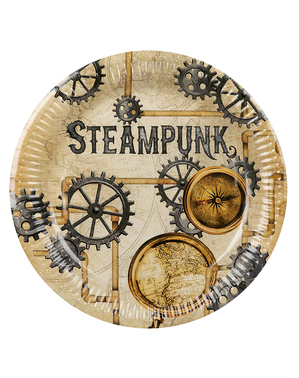 6 platos Steampunk marrón (23 cm) - Steampunk Collection