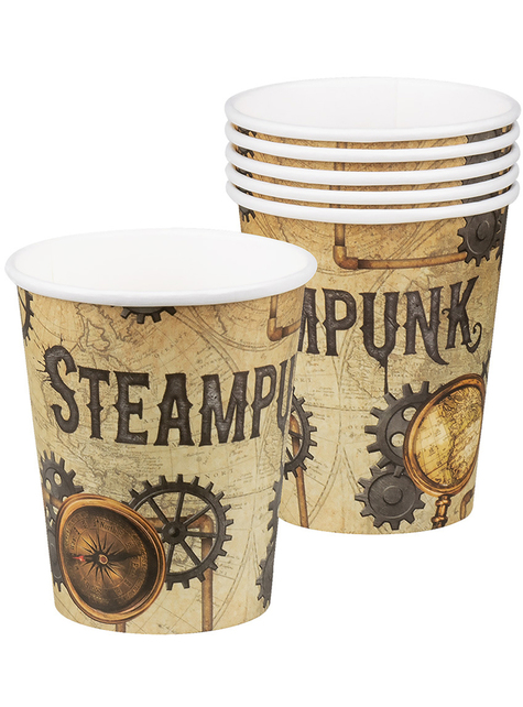 6 vasos Steampunk marrón - Steampunk Collection