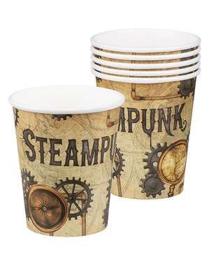 6 copos Steampunk castanhos - Steampunk Collection