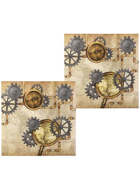 12 Steampunk napkins in brown (33x33 cm) - Steampunk Collection