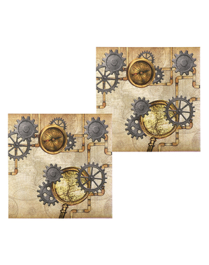 12 Steampunk servetten in bruin (33x33 cm) - Steampunk Collection