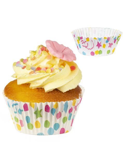 50 pirottini per cupcake con stelle e pois