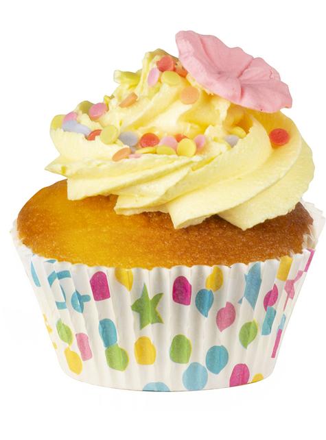 50 vormpjes voor cupcakes met stippen en sterren - voor themafeestjes