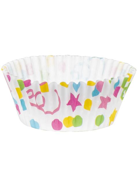 50 moules à cupcakes à pois et étoiles - pas cher