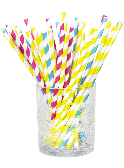 20 pailles à rayures couleurs variés