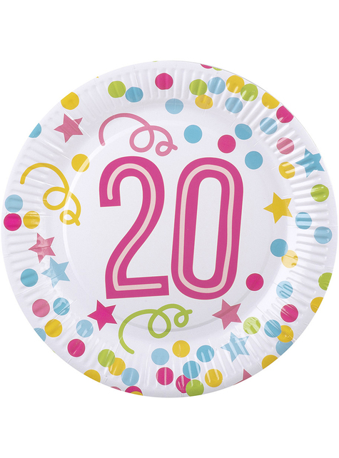 6 fødselsdagstallerkner med polka prikker og stjerner (23 cm)