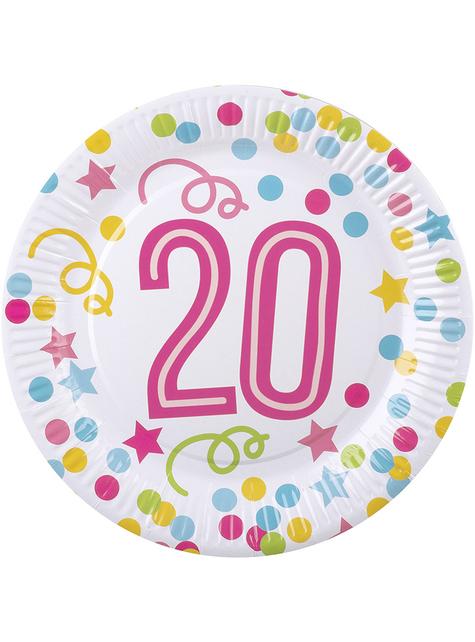6 platos 20 cumpleaños con lunares y estrellas (23 cm)