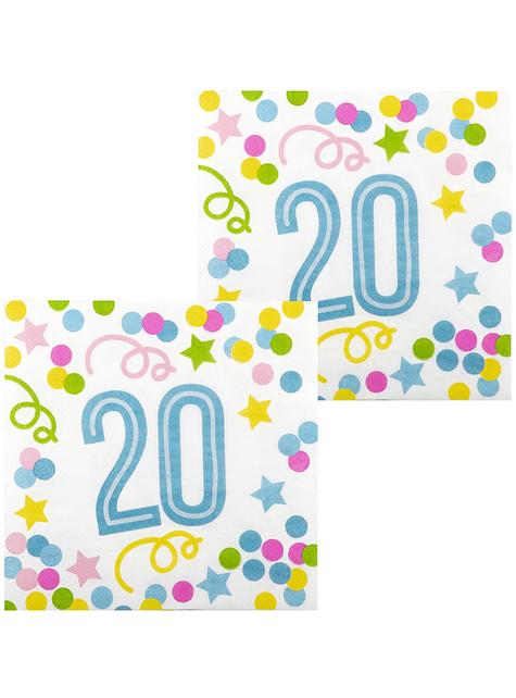 12 Serviettes en papier 20 ans à pois et étoiles (33x33 cm)