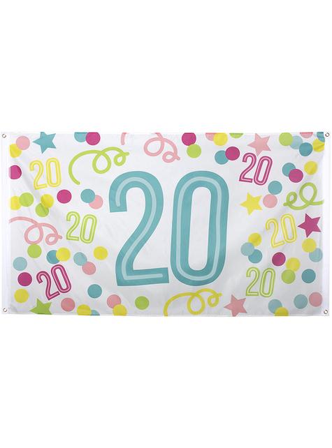 20-års fødselsdag banner med prikker og stjerner