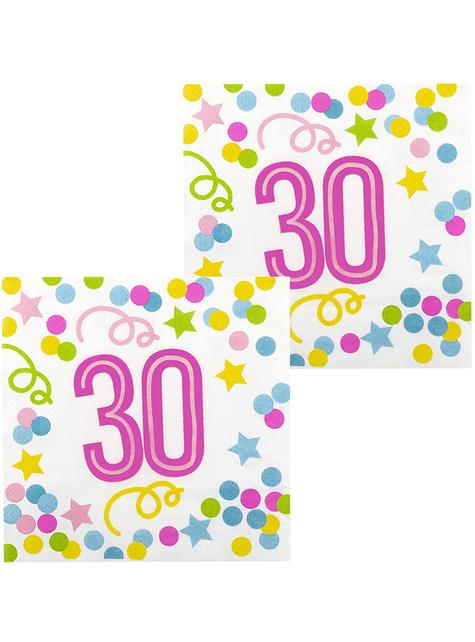 12 serviettes 30 ans à pois et étoiles (33x33 cm)