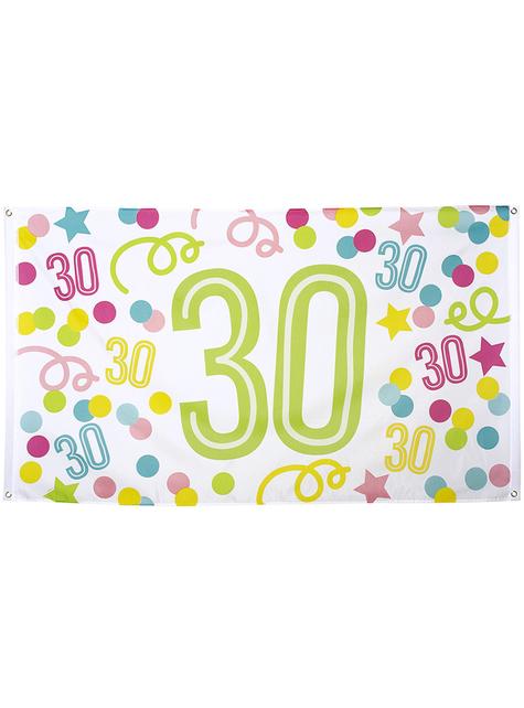 30. Geburtstag Fahne mit Punkten und Sternen