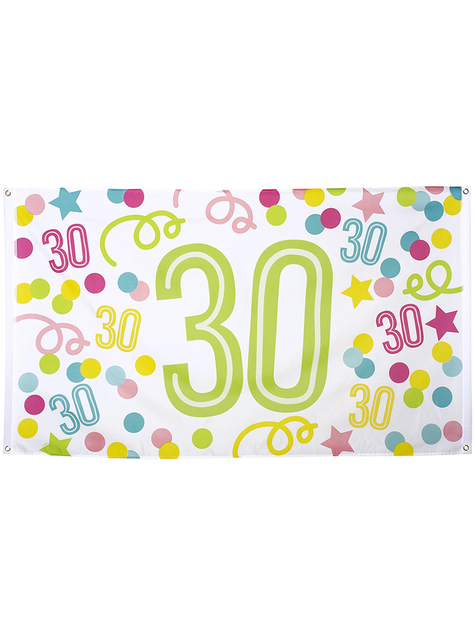 30th birthday banner with polka dots and stars