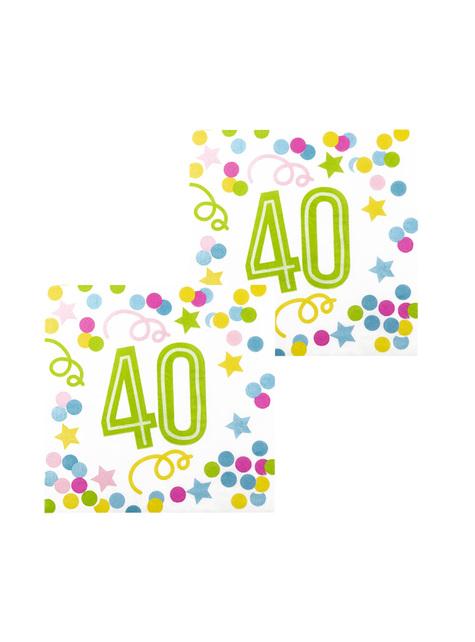 12 servilletas 40 cumpleaños con lunares y estrellas (33x33 cm)
