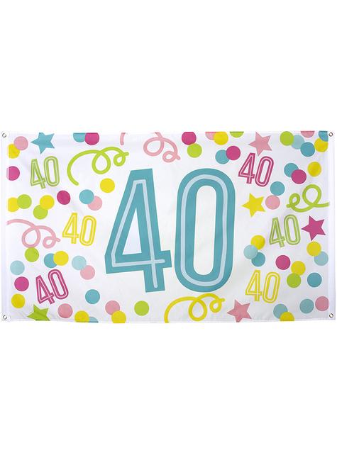 40-års fødselsdag banner med prikker og stjerner