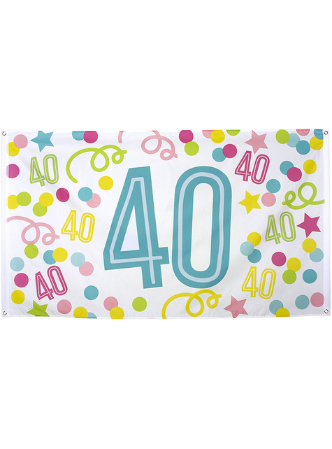 40th birthday banner with polka dots and stars