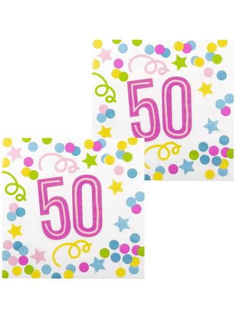 12 serviettes 50 ans à pois et étoiles (33x33 cm)