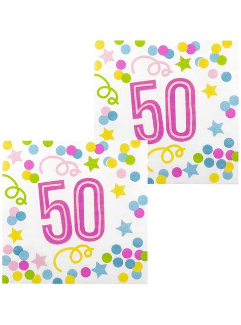 12 servilletas 50 cumpleaños con lunares y estrellas (33x33 cm)