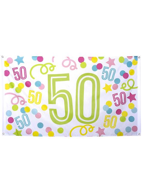 50-års fødselsdag banner med polka prikker og stjerner