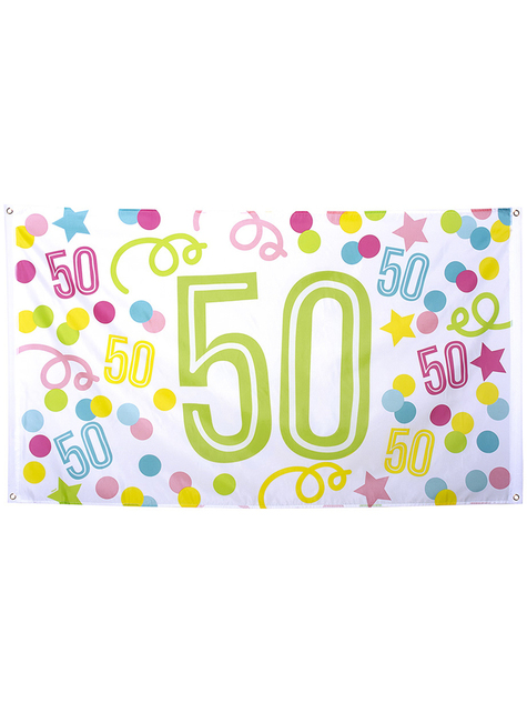 50th birthday banner with polka dots and stars
