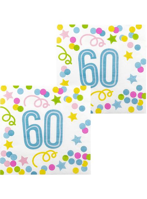 12 serviettes 60 ans à pois et étoiles (33x33 cm)