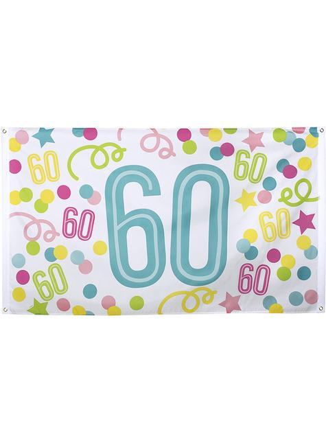 60-års fødselsdag banner med prikker og stjerner